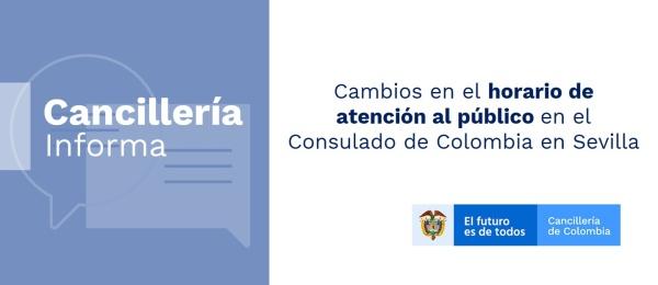 Cambios en el horario de atención al público en el Consulado de Colombia en Sevilla