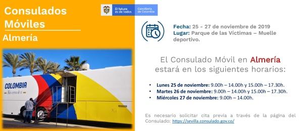 Consulado de Colombia en Sevilla estará con su Consulado Móvil en Almería, del 25 al 27 de noviembre de 2019