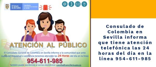 Consulado de Colombia en Sevilla informa que tiene atención telefónica las 24 horas del día