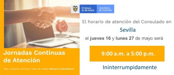 Consulado de Colombia en Sevilla realizará Jornadas Continuas de Atención el 16 y 27 de mayo de 2019
