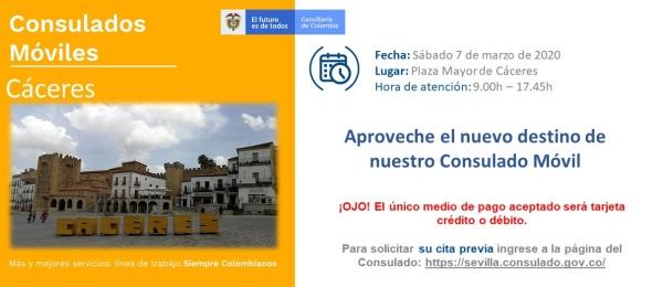 Consulado de Colombia en Sevilla realizará la jornada móvil el 7 de marzo de 2020 en Cáceres