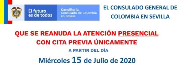 El Consulado de Colombia en Sevilla informa que se reanuda la atención presencial con cita previa