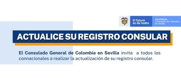 El Consulado de Colombia en Sevilla invita a los connacionales a actualizar el registro consular