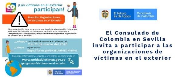 El Consulado de Colombia en Sevilla invita a participar a las organizaciones de víctimas