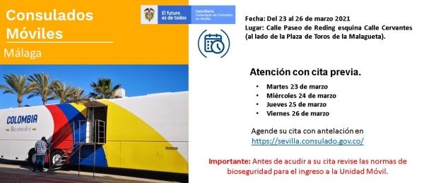 El Consulado de Colombia en Sevilla realizará el Consulado Móvil en Málaga del 23 al 26 marzo