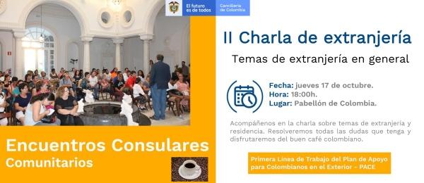 El Consulado en Sevilla invita a los colombianos a la segunda charla de extranjería el jueves 17 de octubre de 2019