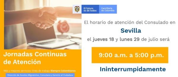 Jornadas Continuas de Atención el 18 y 29 de julio en el Consulado de Colombia