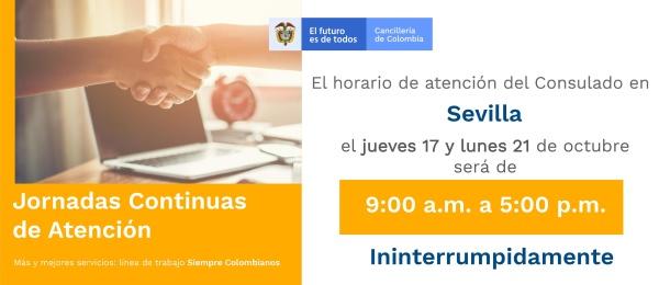 Horario de atención en el Consulado de Colombia en Sevilla será de 9:00 a.m. a 5:00 p.m. jueves 17 y lunes 21 de octubre de 2019
