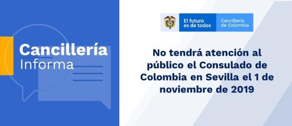No tendrá atención al público el Consulado de Colombia en Sevilla el 1 de noviembre