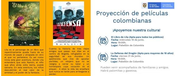 Proyección de películas colombianas en la sede del Consulado de Colombia