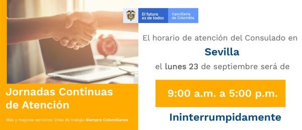 Jornada Continua de Atención el 23 de septiembre de 2019  en el Consulado de Colombia en Sevilla