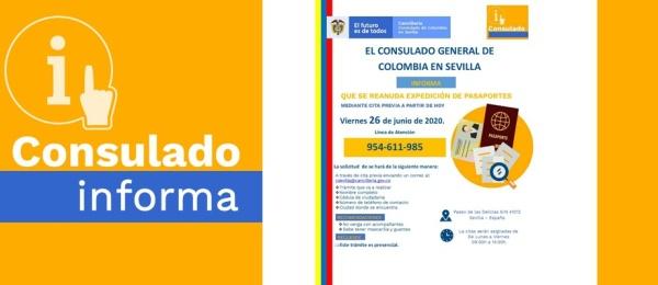 El Consulado General de Colombia en Sevilla informa sobre la reanudación de la expedición de pasaportes