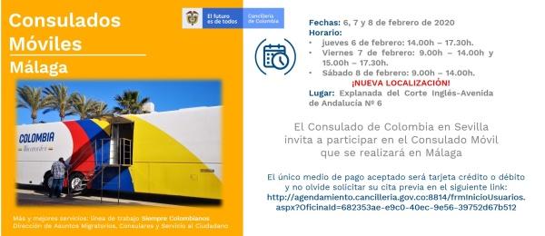 El Consulado de Colombia en Sevilla realizará Consulado Móvil en Málaga los días 6, 7 y 8 de febrero de 2020