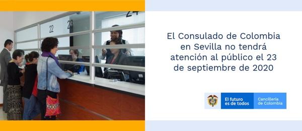 El Consulado de Colombia en Sevilla no tendrá atención al público el 23 de septiembre de 2020