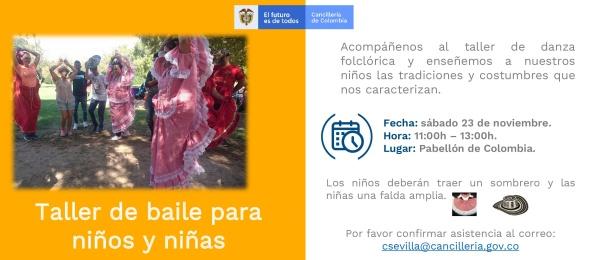Consulado de Colombia en Sevilla organiza el Taller de baile folclórica para niños y niñas